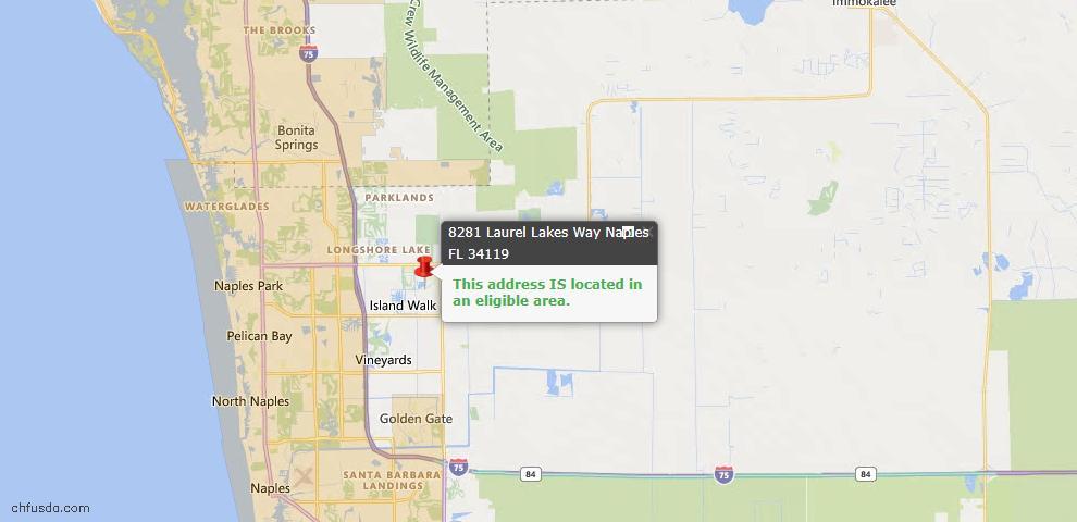USDA Loan Eligiblity Map - 8281 Laurel Lakes Way, Naples, FL 34119