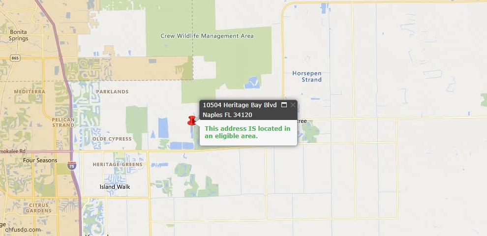 USDA Loan Eligiblity Map - 10504 Heritage Bay Blvd, Naples, FL 34120