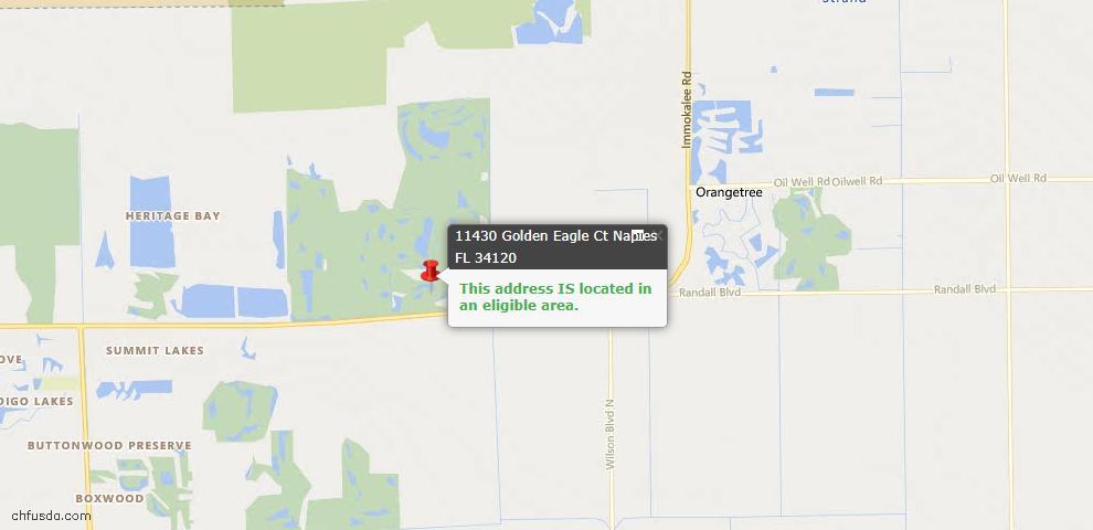 USDA Loan Eligiblity Map - 11430 Golden Eagle Ct, Naples, FL 34120