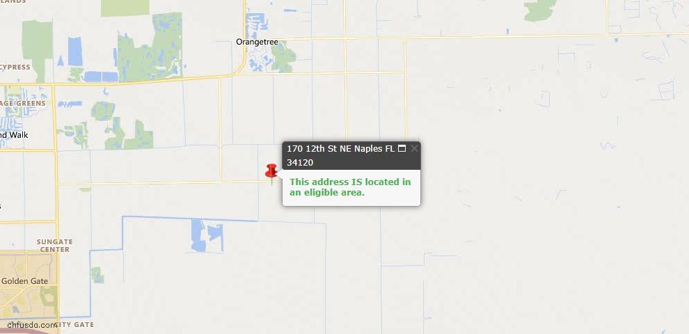 USDA Loan Eligiblity Map - 170 12th St NE, Naples, FL 34120