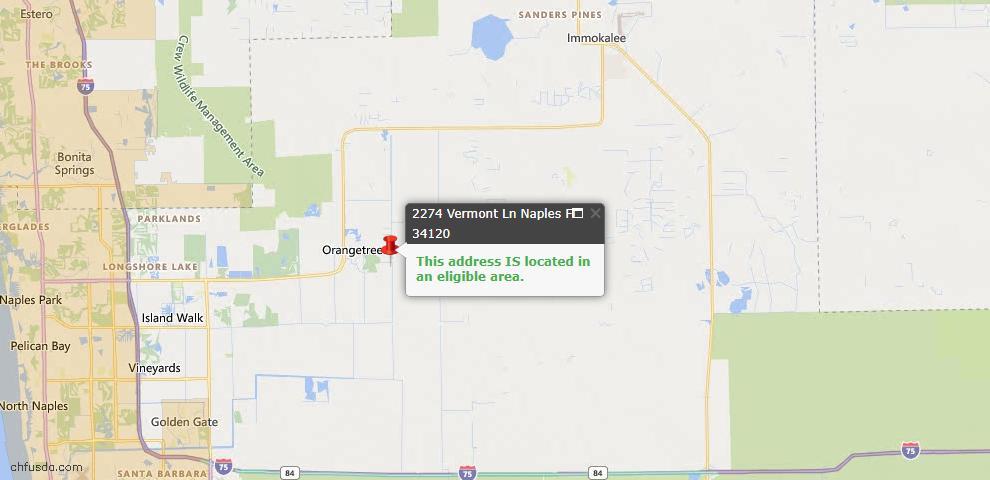 USDA Loan Eligiblity Map - 2274 Vermont Ln, Naples, FL 34120