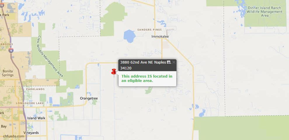 USDA Loan Eligiblity Map - 3880 62nd Ave NE, Naples, FL 34120