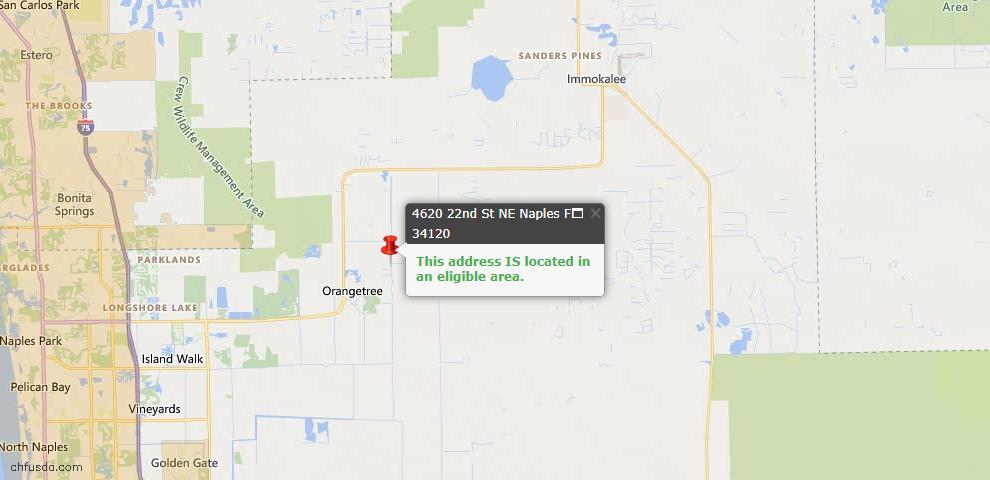 USDA Loan Eligiblity Map - 4620 22nd St NE, Naples, FL 34120