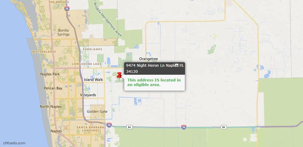 USDA Loan Eligiblity Map - 9474 Night Heron Ln, Naples, FL 34120