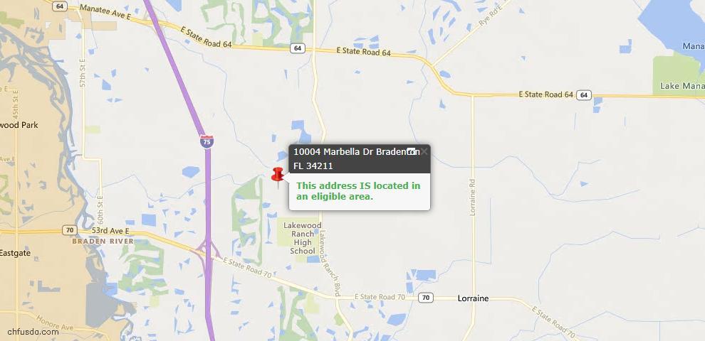 USDA Loan Eligiblity Map - 10004 Marbella Dr, Bradenton, FL 34211