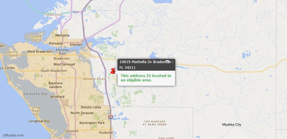 USDA Loan Eligiblity Map - 10019 Marbella Dr, Bradenton, FL 34211
