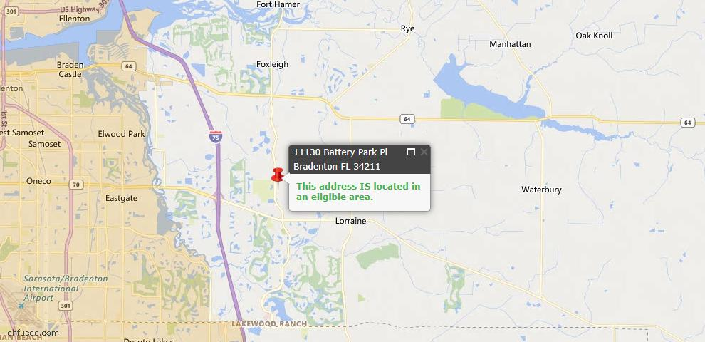 USDA Loan Eligiblity Map - 11130 Battery Park Pl, Bradenton, FL 34211