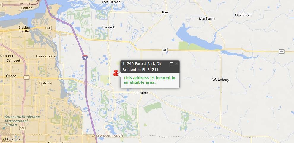 USDA Loan Eligiblity Map - 11746 Forest Park Cir, Bradenton, FL 34211