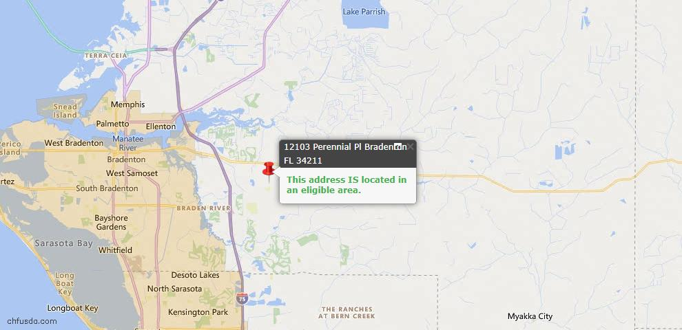 USDA Loan Eligiblity Map - 12103 Perennial Pl, Bradenton, FL 34211
