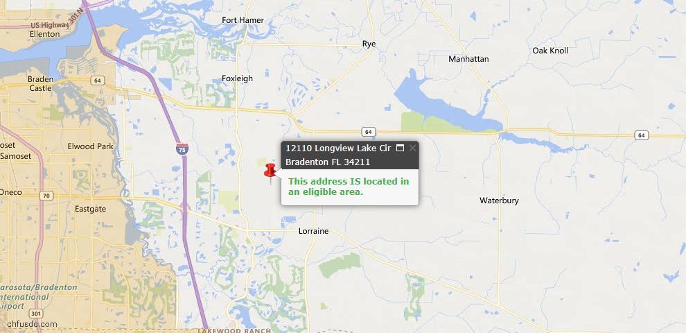 USDA Loan Eligiblity Map - 12110 Longview Lake Cir, Bradenton, FL 34211