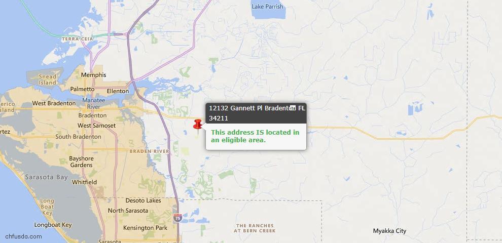 USDA Loan Eligiblity Map - 12132 Gannett Pl, Bradenton, FL 34211