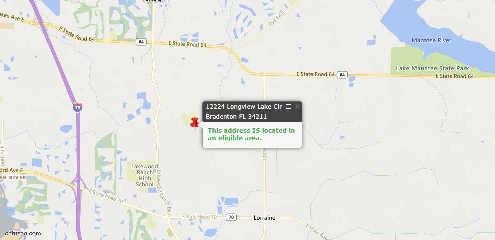 USDA Loan Eligiblity Map - 12224 Longview Lake Cir, Bradenton, FL 34211