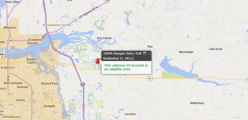 USDA Loan Eligiblity Map - 10046 Reagan Dairy Trl, Bradenton, FL 34212
