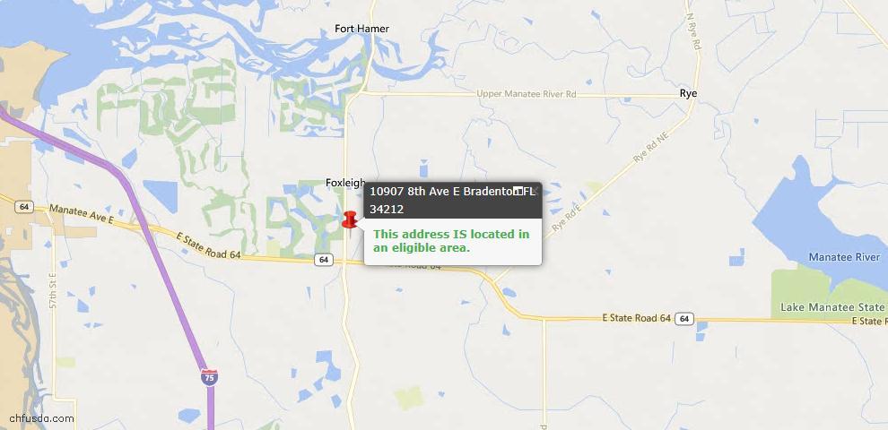 USDA Loan Eligiblity Map - 10907 8th Ave E, Bradenton, FL 34212