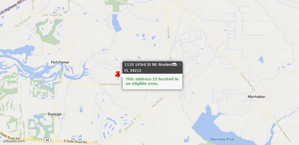 USDA Loan Eligiblity Map - 1110 143rd St NE, Bradenton, FL 34212
