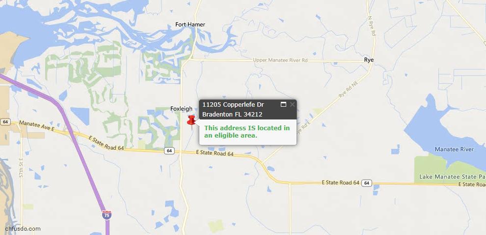 USDA Loan Eligiblity Map - 11205 Copperlefe Dr, Bradenton, FL 34212