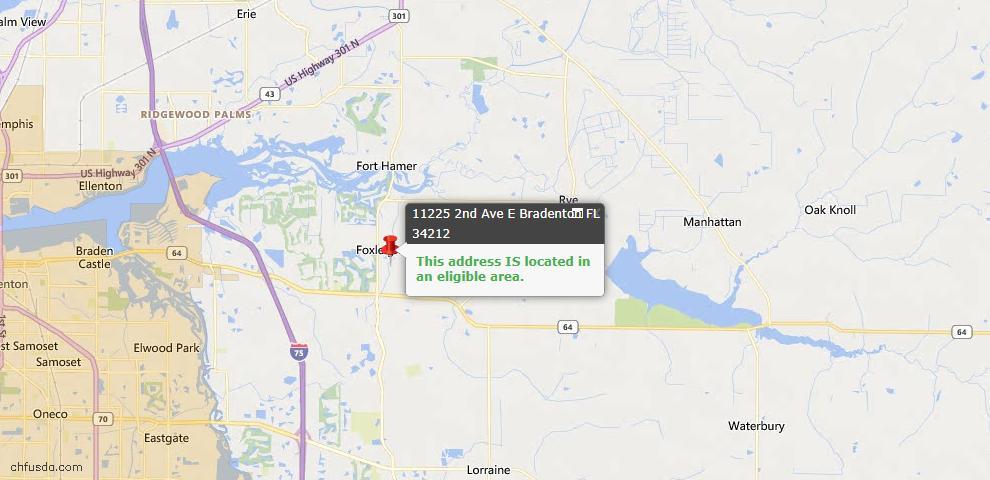 USDA Loan Eligiblity Map - 11225 2nd Ave E, Bradenton, FL 34212