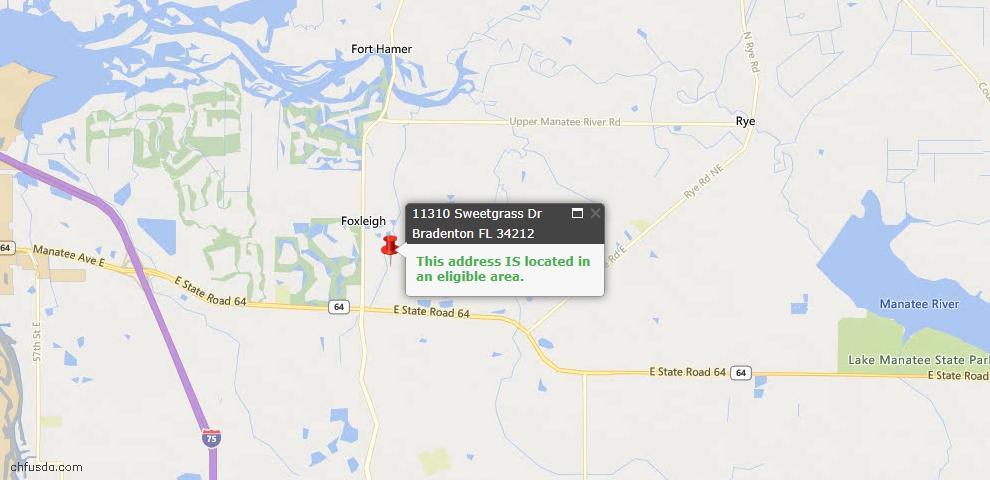 USDA Loan Eligiblity Map - 11310 Sweetgrass Dr, Bradenton, FL 34212