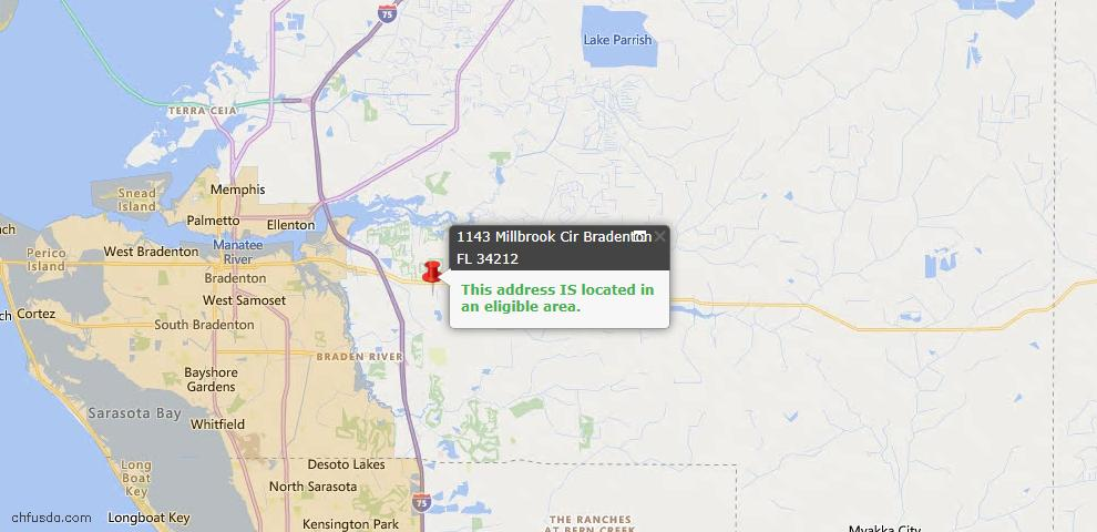 USDA Loan Eligiblity Map - 1143 Millbrook Cir, Bradenton, FL 34212
