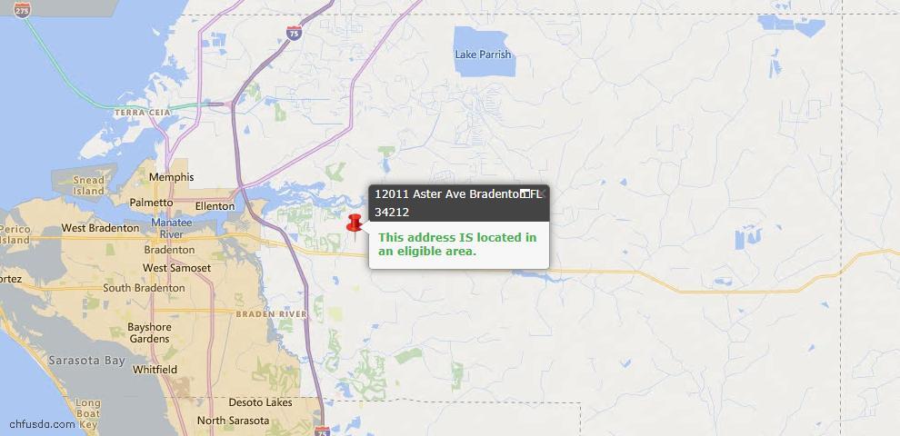 USDA Loan Eligiblity Map - 12011 Aster Ave, Bradenton, FL 34212