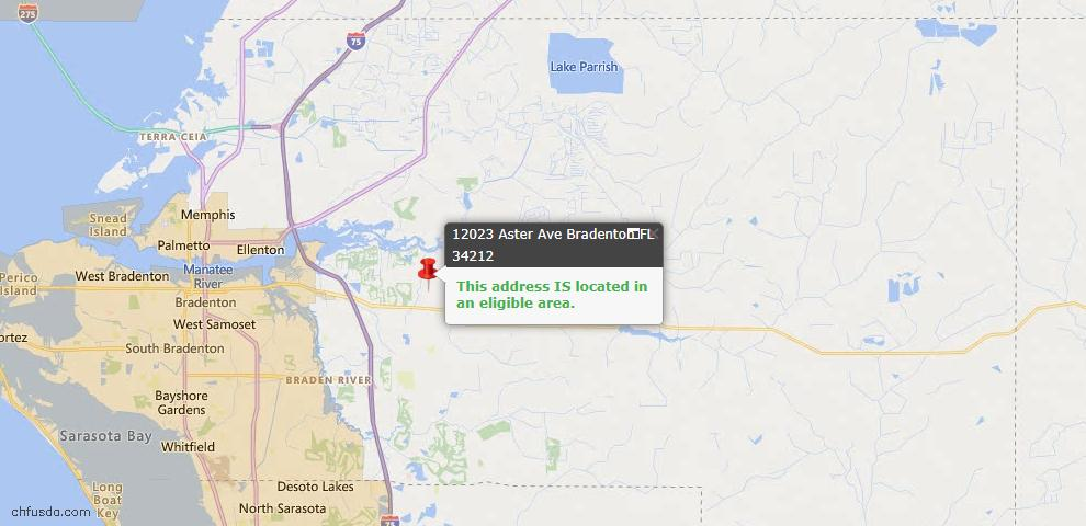 USDA Loan Eligiblity Map - 12023 Aster Ave, Bradenton, FL 34212