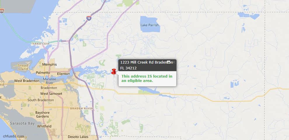 USDA Loan Eligiblity Map - 1223 Mill Creek Rd, Bradenton, FL 34212