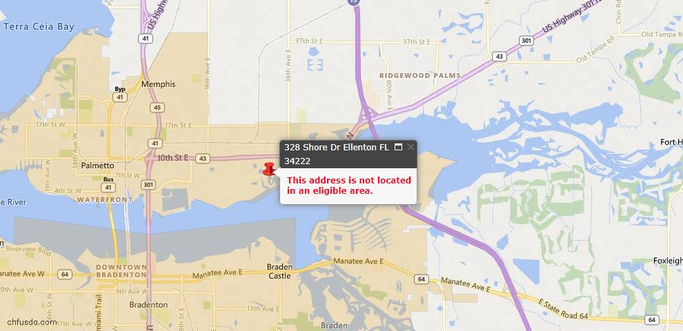 USDA Loan Eligiblity Maps From - Ellenton, FL