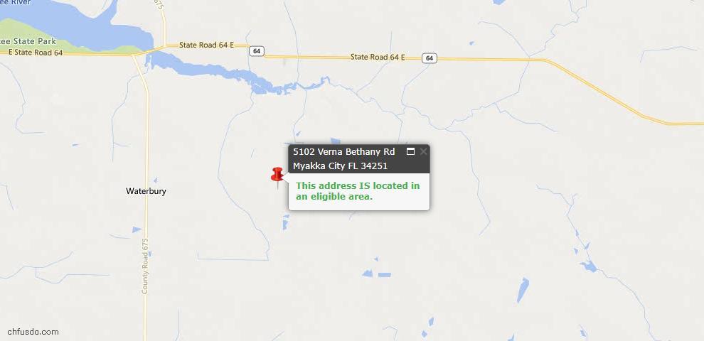 USDA Loan Eligiblity Maps From - Myakka City, FL
