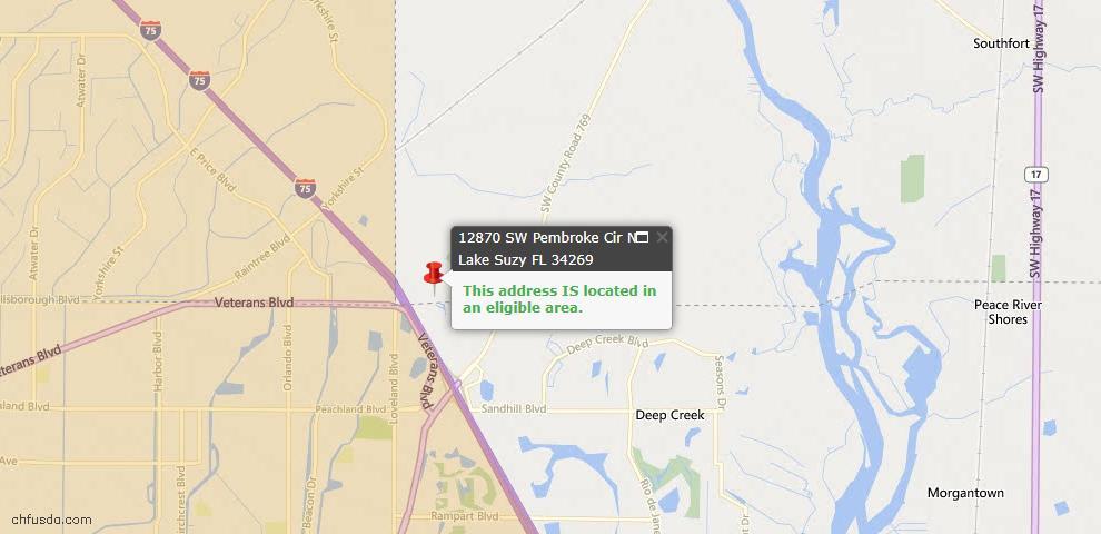 USDA Loan Eligiblity Maps From - Lake Suzy, FL