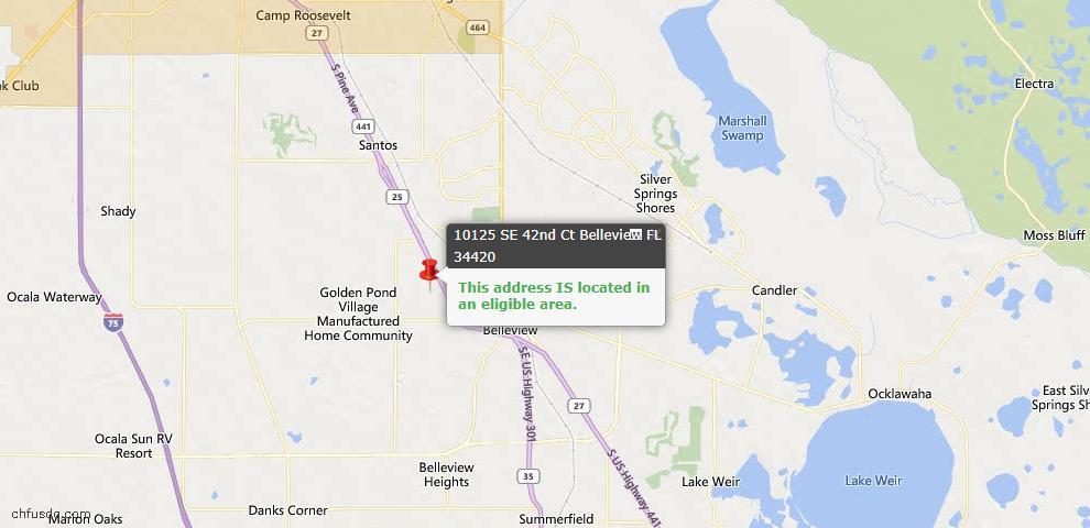 USDA Loan Eligiblity Map - 10125 SE 42nd Ct, Belleview, FL 34420