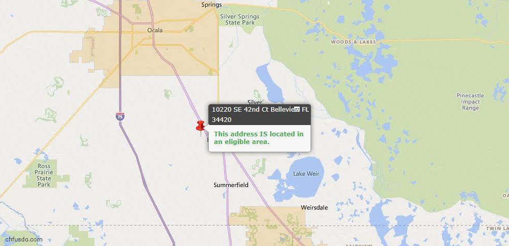 USDA Loan Eligiblity Map - 10220 SE 42nd Ct, Belleview, FL 34420
