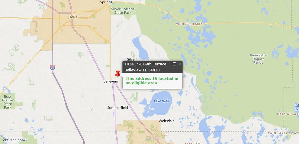 USDA Loan Eligiblity Map - 10341 SE 69th Ter, Belleview, FL 34420