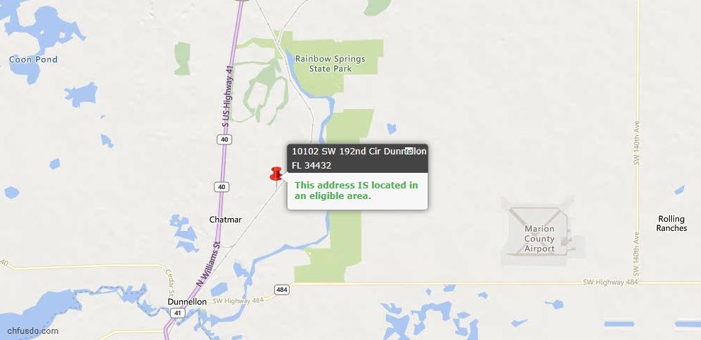 USDA Loan Eligiblity Map - 10102 SW 192nd Cir, Dunnellon, FL 34432