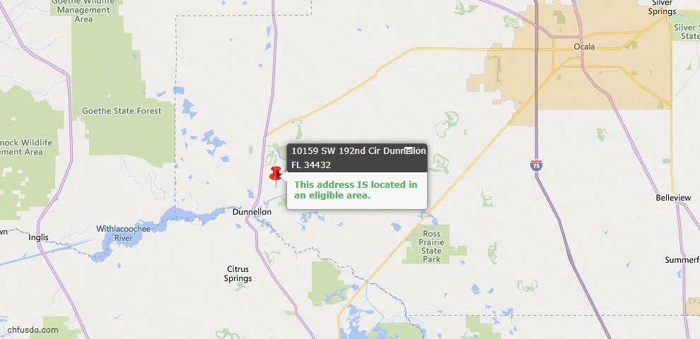 USDA Loan Eligiblity Map - 10159 SW 192nd Cir, Dunnellon, FL 34432