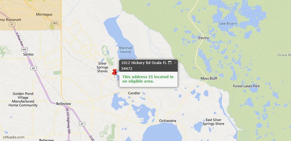 USDA Loan Eligiblity Map - 1012 Hickory Rd, Ocala, FL 34472