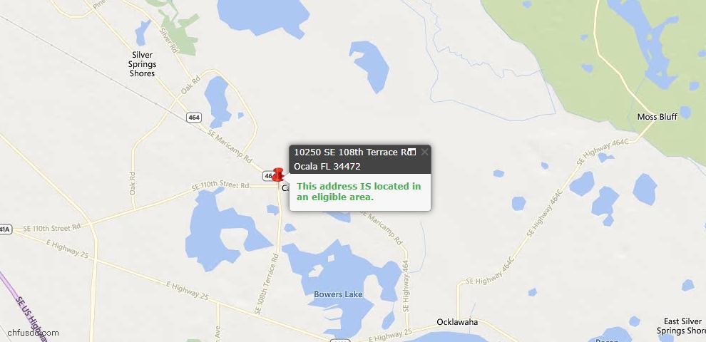 USDA Loan Eligiblity Map - 10250 SE 108th Terrace Rd, Ocala, FL 34472