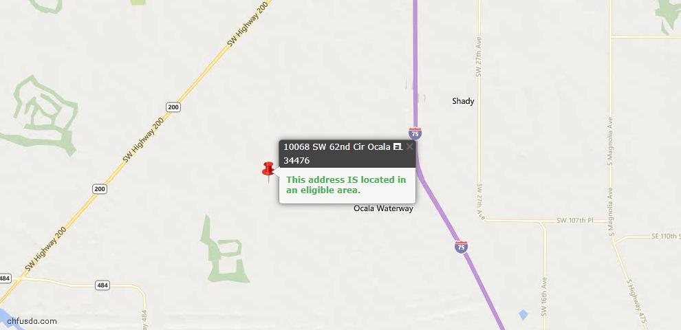 USDA Loan Eligiblity Map - 10068 SW 62nd Cir, Ocala, FL 34476