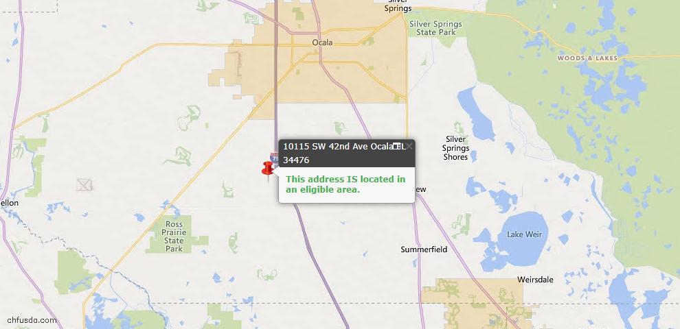 USDA Loan Eligiblity Map - 10115 SW 42nd Ave, Ocala, FL 34476