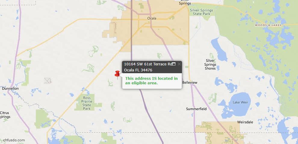 USDA Loan Eligiblity Map - 10164 SW 61st Terrace Rd, Ocala, FL 34476