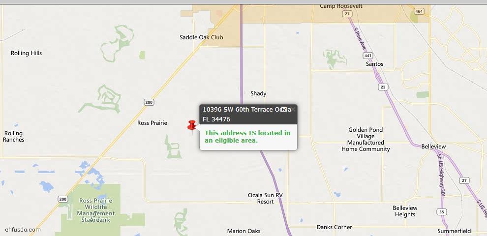 USDA Loan Eligiblity Map - 10396 SW 60th Ter, Ocala, FL 34476
