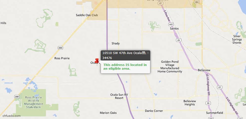 USDA Loan Eligiblity Map - 10510 SW 47th Ave, Ocala, FL 34476