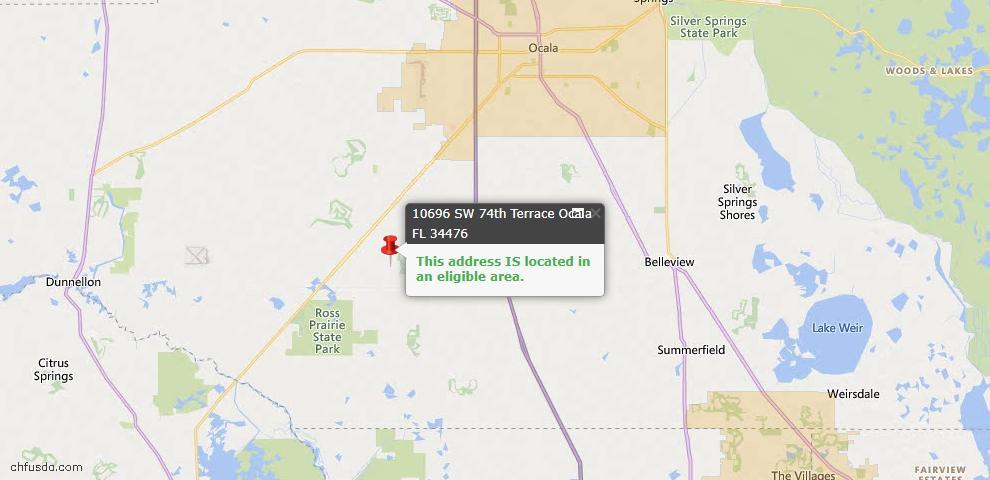 USDA Loan Eligiblity Map - 10696 SW 74th Ter, Ocala, FL 34476