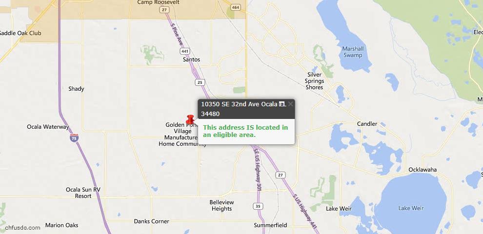 USDA Loan Eligiblity Map - 10350 SE 32nd Ave, Ocala, FL 34480