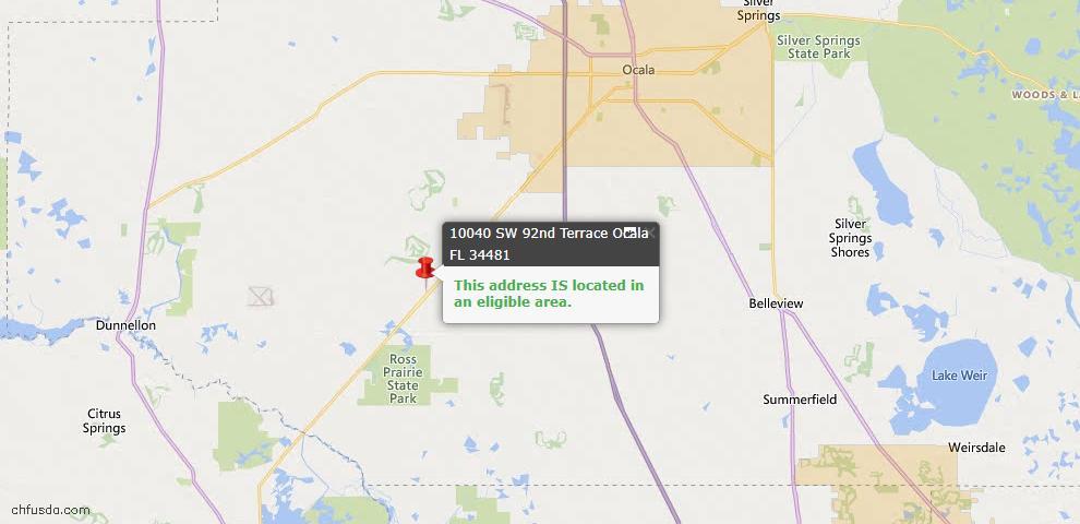 USDA Loan Eligiblity Map - 10040 SW 92nd Ter E, Ocala, FL 34481