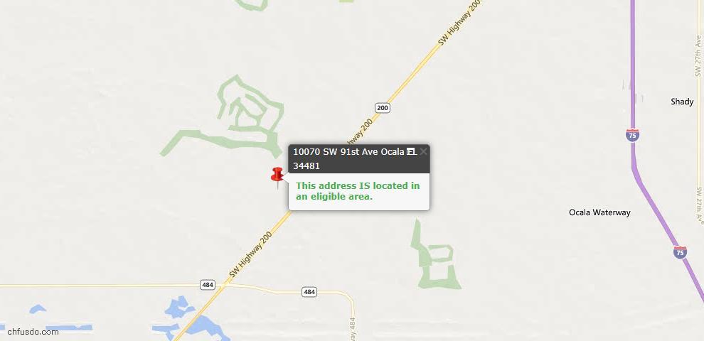 USDA Loan Eligiblity Map - 10070 SW 91st Ave, Ocala, FL 34481
