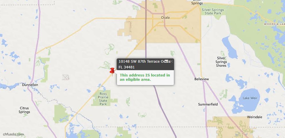 USDA Loan Eligiblity Map - 10148 SW 87th Ter, Ocala, FL 34481