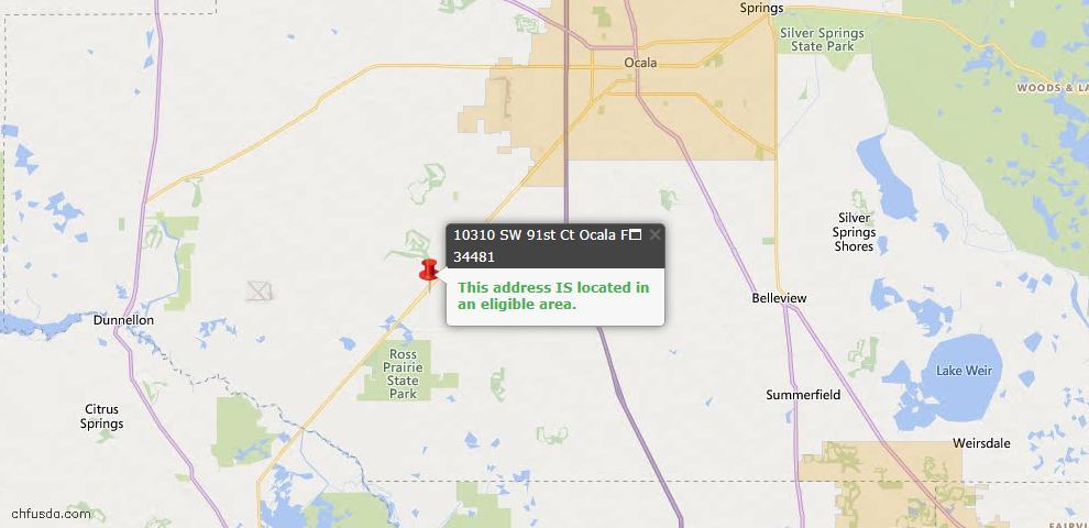 USDA Loan Eligiblity Map - 10310 SW 91st Ct, Ocala, FL 34481