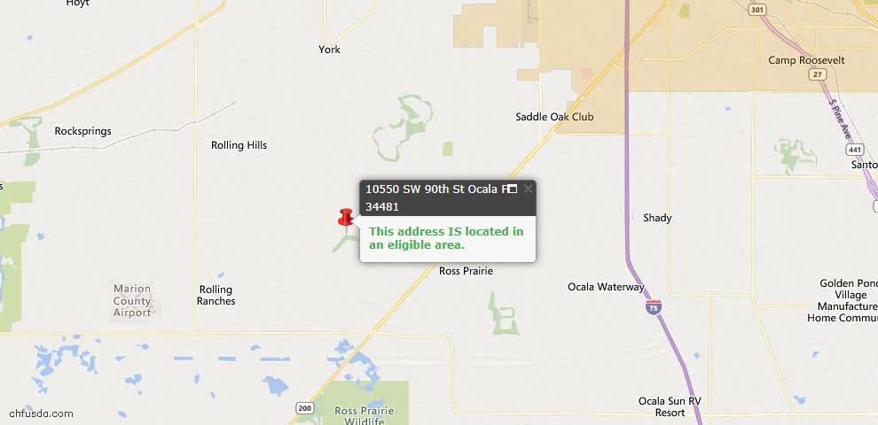 USDA Loan Eligiblity Map - 10550 SW 90th Street Rd, Ocala, FL 34481