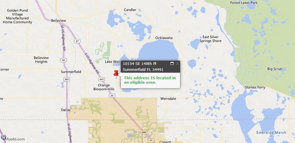 USDA Loan Eligiblity Map - 10154 SE 148th Pl, Summerfield, FL 34491