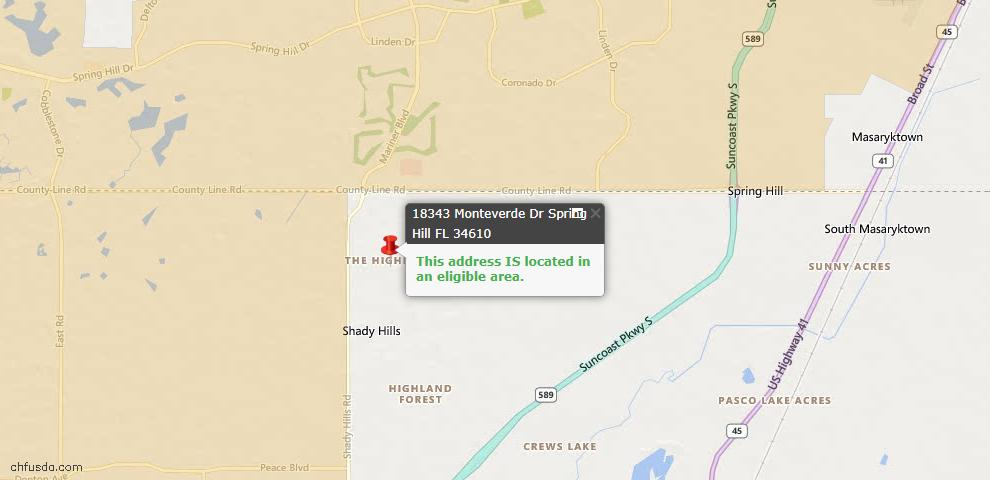 USDA Loan Eligiblity Maps From - Spring Hill, FL